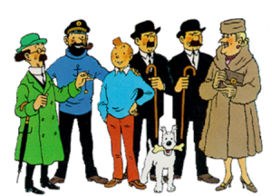 Professor Calculus, Captain Haddock, TinTin, Thomson & Thompson, Bianca Castafiore, and Snowy from Herge's The Adventures of TinTin