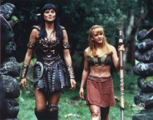 Lucy Lawless as Xena and Renee O'Connor as Gabrielle from Xena, Warrior Princess Photo Credit: Hercules/Xena wiki