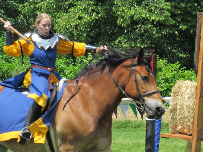 The Silver Knights Joust Team — Spearing the Hay Bale